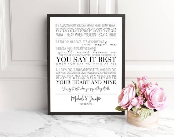 Ronan Keating When You Say Nothing At All Wedding Song Lyric Art Personalized Gift Custom