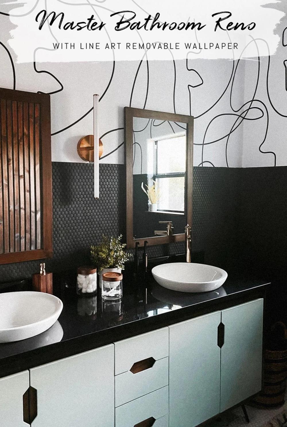 Master Bathroom Remodel Featuring Line Art Design Wallpaper Room Tou Livettes In 2020