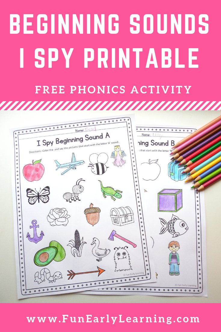 I Spy Beginning Sounds Phonics Activity. Fun free printable for ...