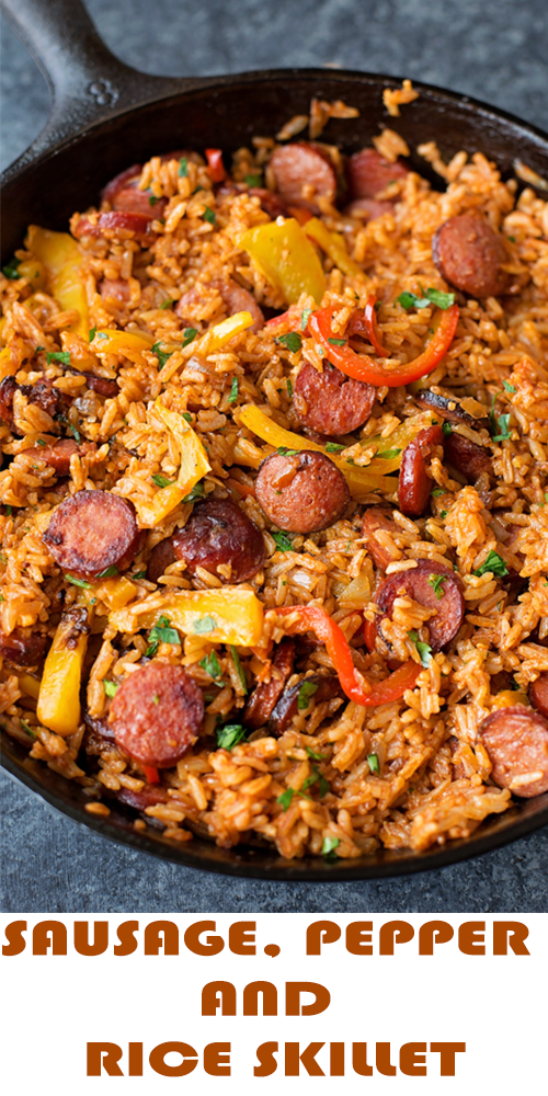 SAUSAGE, PEPPER AND RICE SKILLET – Delicious Foods Around The World #easysausagerecipes