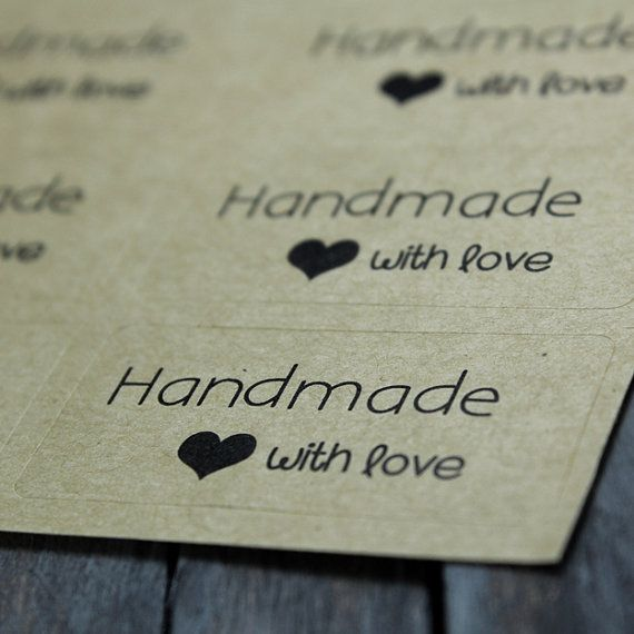 Handmade With Love Stickers Kraft Stickers by StampingGear on Etsy