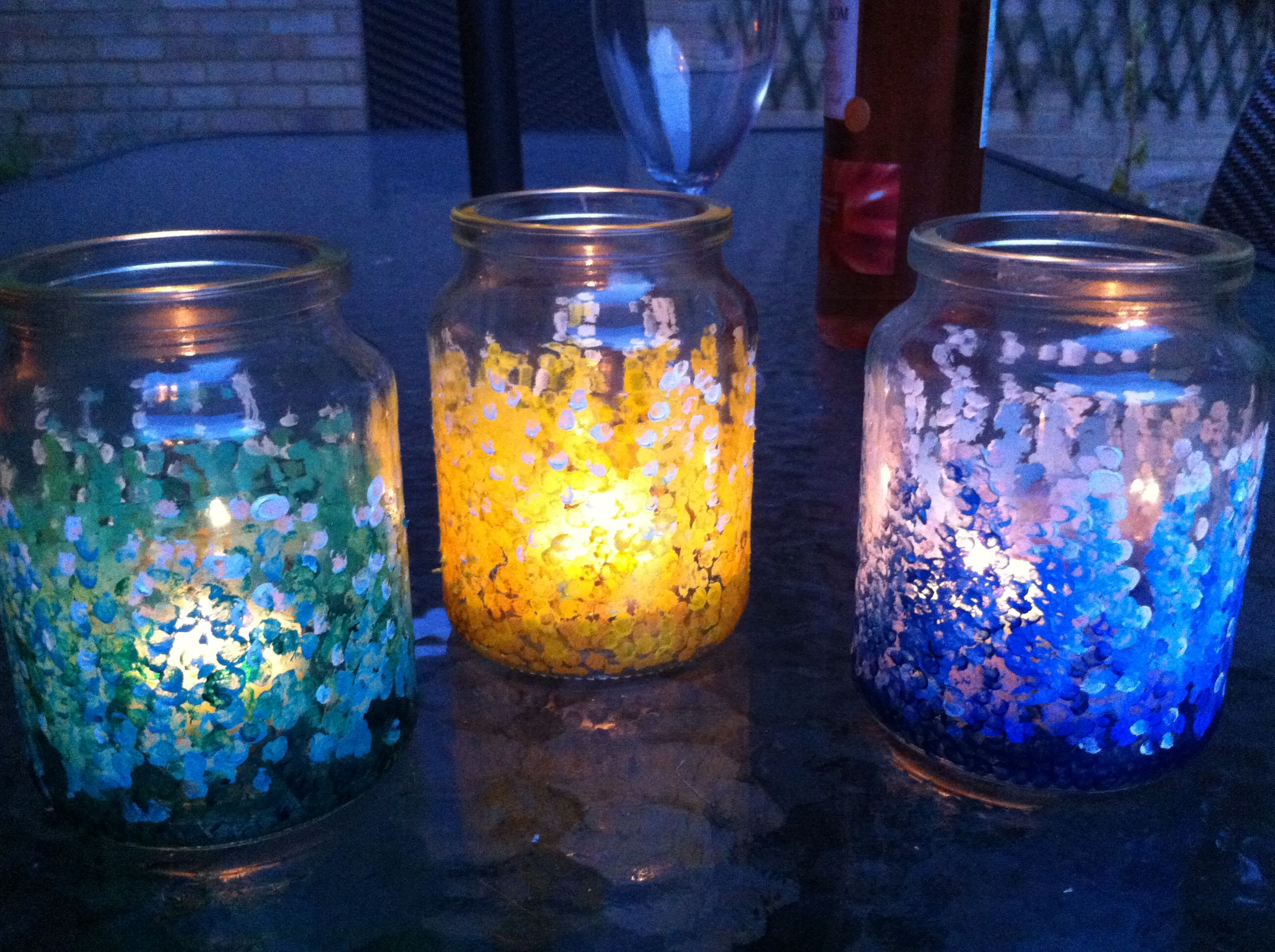 Painted jam jars with citronella candles | Painted candles, Glass crafts,  Candle jars