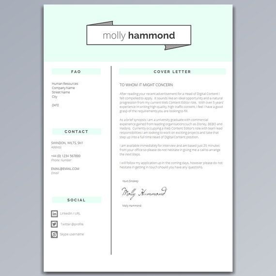 Mint Green Resume Template Creative 2 Page Cv Template Etsy Resume Template Cv Template Cover Letter Template