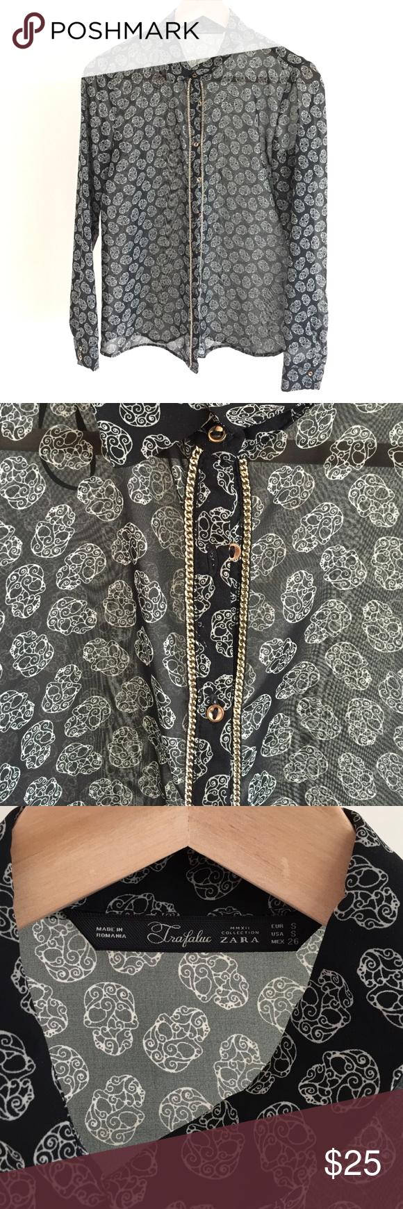 ZARA TRF button up Zara TRF button up skull shirt with gold detailing. Lightly worn Zara Tops Button Down Shirts