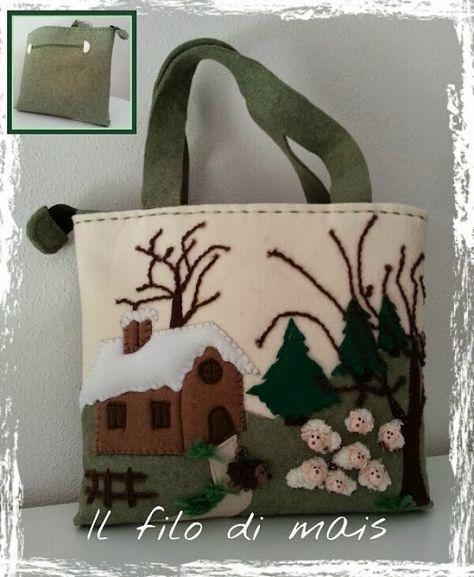 Il filo di mais di Chiara Gloria e Daniela: Borsa in feltro con paesaggio invernale