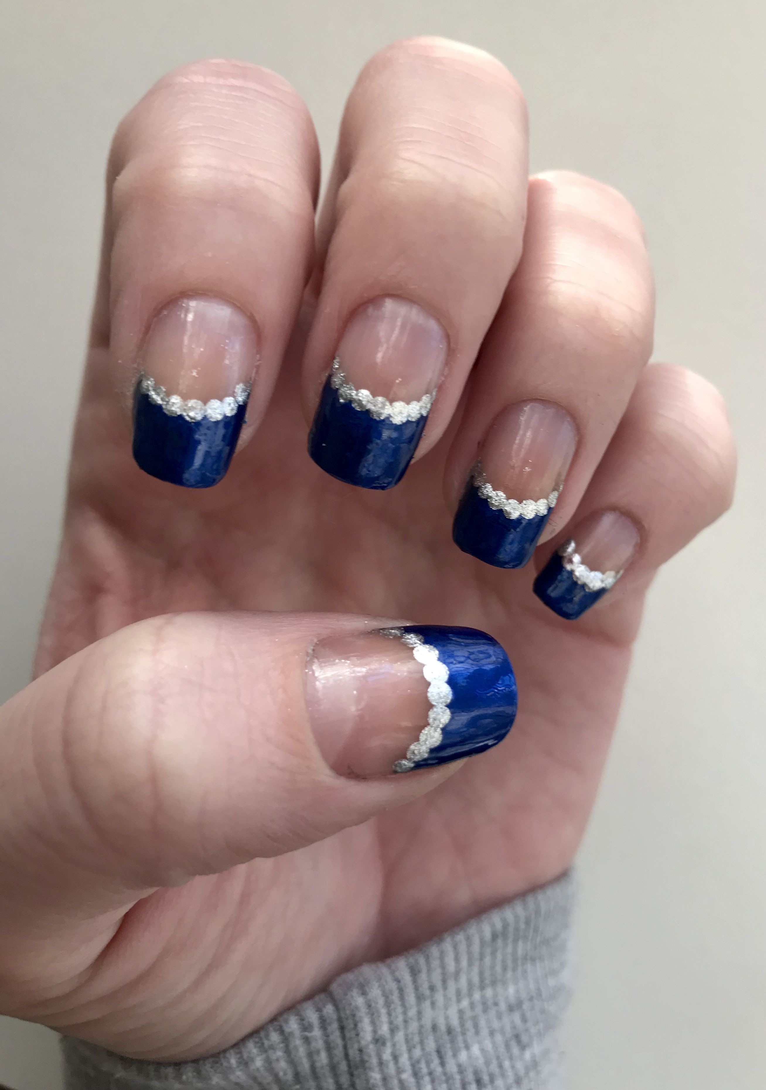 A royal blue French tip. This design only took me about 20 minutes ...