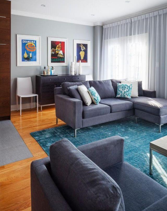 Wohnzimmer Einrichtung Eklektisch Blau Hellgrau Holzboden