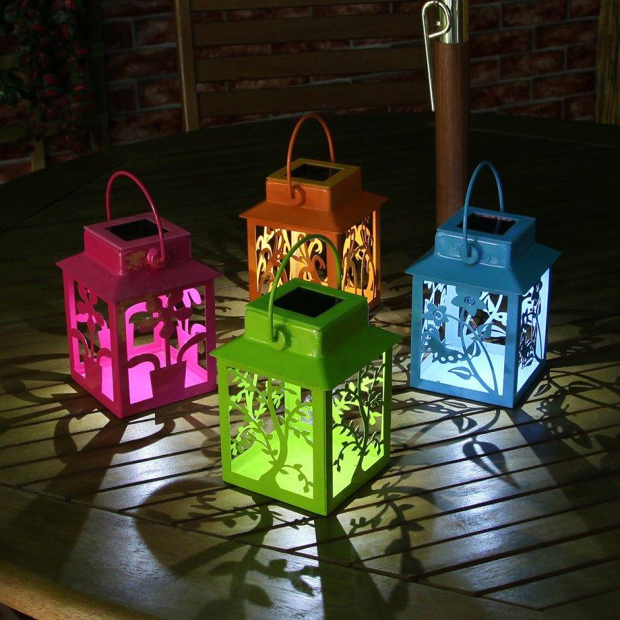 beautiful bright coloured solar lanterns in stock now 4 coloured solar metal - Outdoor Solar Lanterns