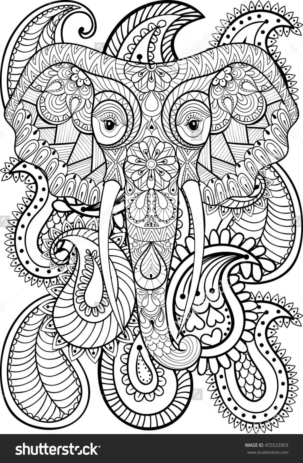 zentangle indian elephant on paisley pattern adult coloring ...