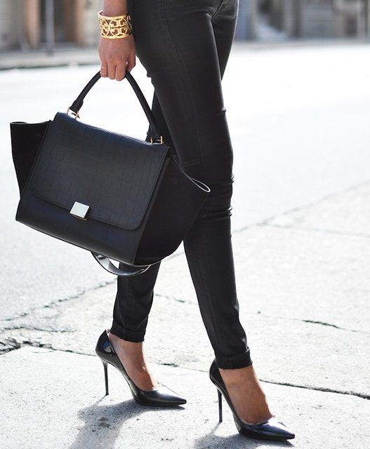 Patent Leather Pointed-Toe Pump by