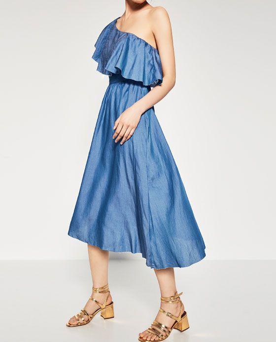 Image 2 of DENIM DRESS WITH ASYMMETRIC FRILL from Zara