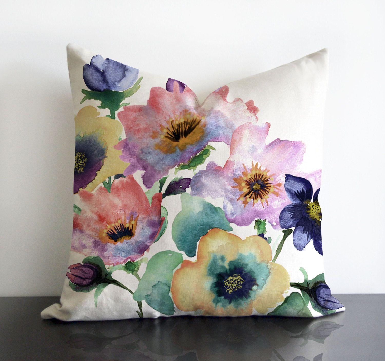 Sale 20 Quot X20 Quot Watercolour Bouquet Watercolor Floral Pillow Cover Designer Watercolor Pillow Watercolor Pillows Floral Pillows Floral Pillow Cover