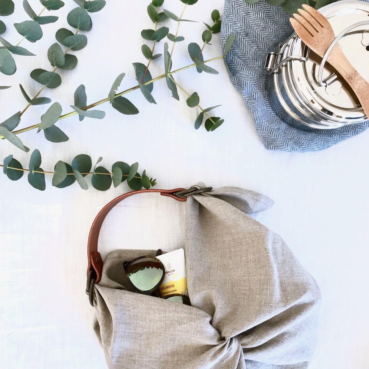 Natural washed linen Furoshiki bag #furoshikituto