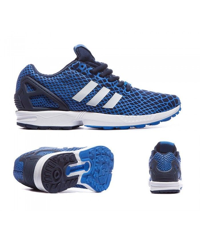 Womens Adidas Originals ZX Flux Techfit Bluebird and Collegiate Navy Trainer