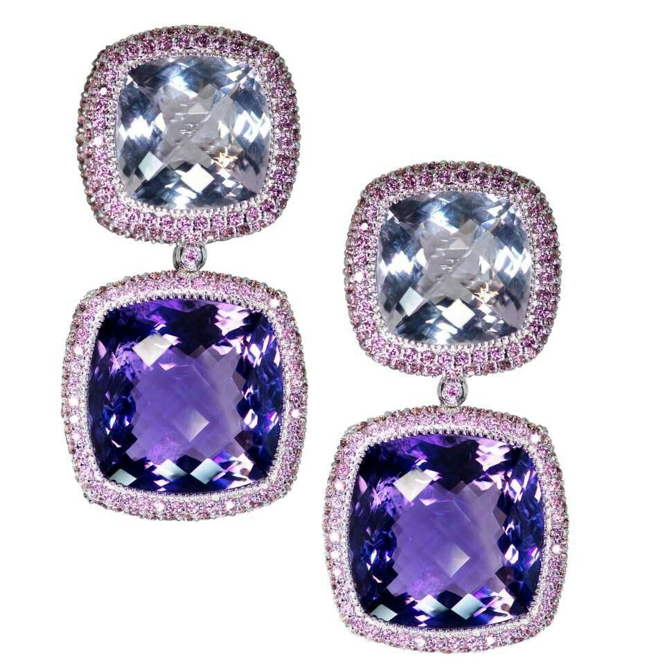 Alex SOLDIER -  Rose de France Amethyst and Rhodolite Garnet Royal Earrings... Made in 18 karat white Gold with Rose de France Amethyst center (77.52 ct) and Rhodolite Garnets (10 ct) with signature metalwork. •Top: 16.5 mm by 16.5 mm; •Bottom: 20 mm by 20 mm. •Handmade in NYC. •One of a kind •$14,500.00