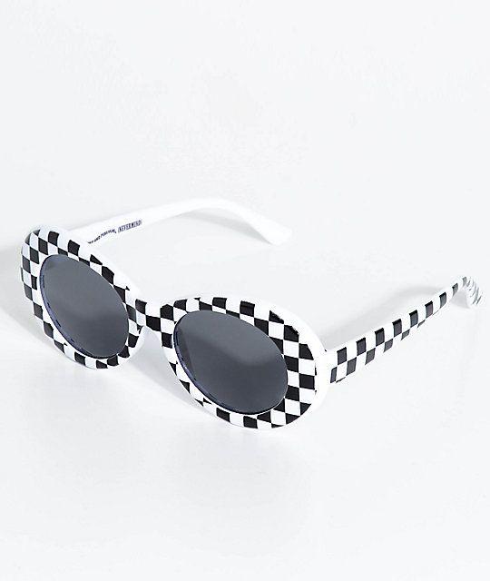 3b183e0049 Petals   Peacocks Nevermind White Checkerboard Sunglasses in 2018 ...