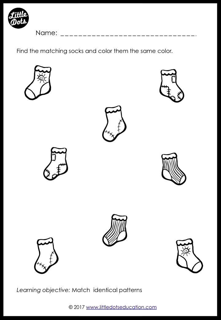 Free Socks Of Different Patterns Matching Worksheets For Preschool Pre K Or Kindergarte Preschool Math Worksheets Preschool Patterns Preschool Math Printables