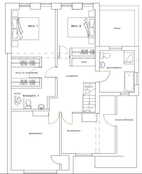 Plano de casa moderna con espacios abiertos de 2 plantas for Arquitectura moderna planos