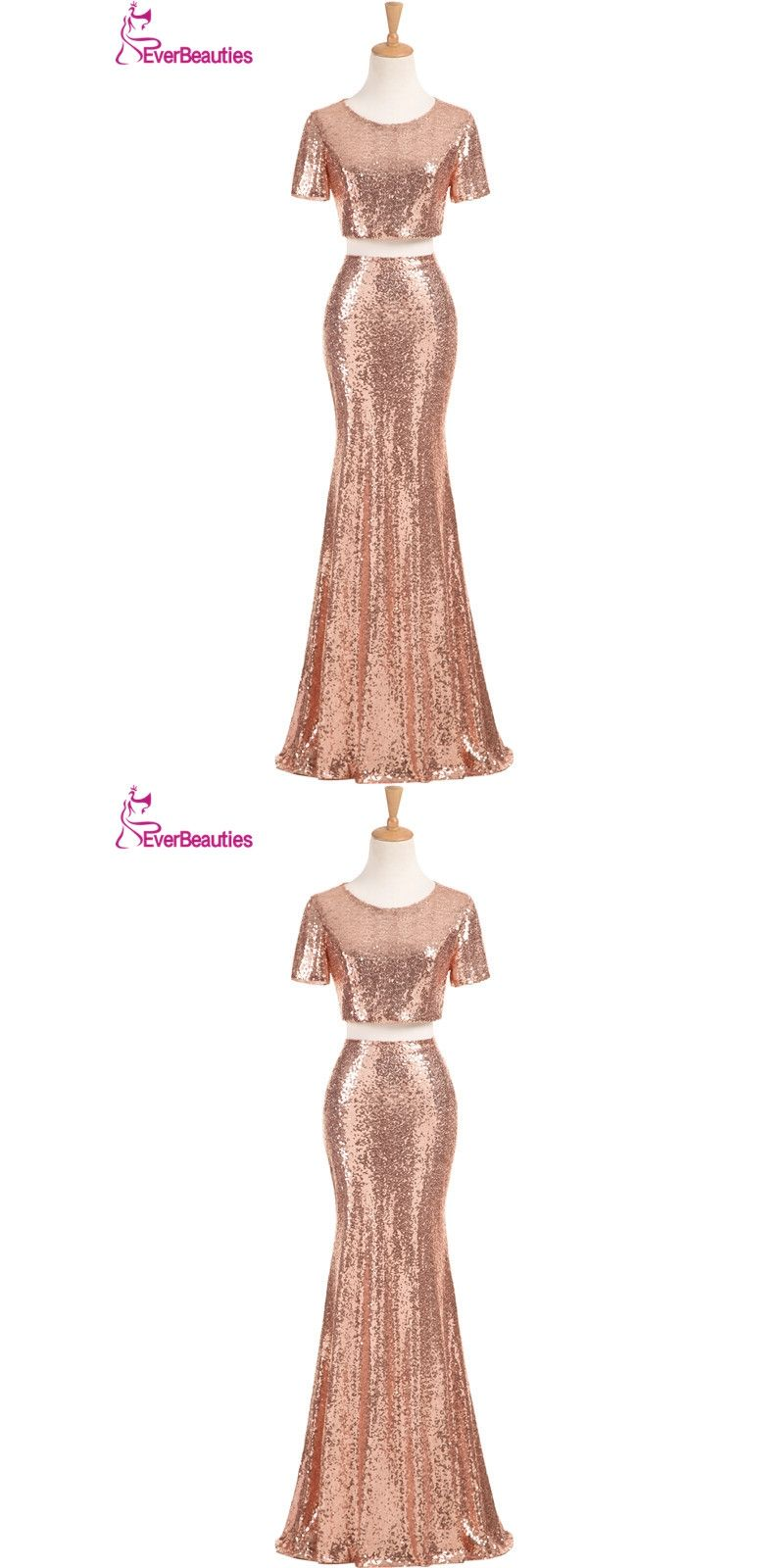 Two pieces mermaid bridesmaid dresses long sequins with short