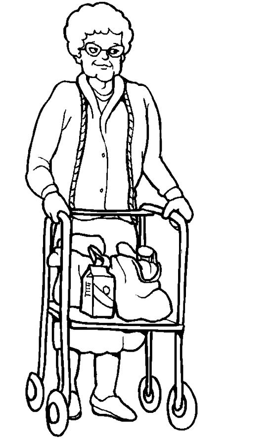 Grandmother Disabilities Coloring Page People Coloring Pages