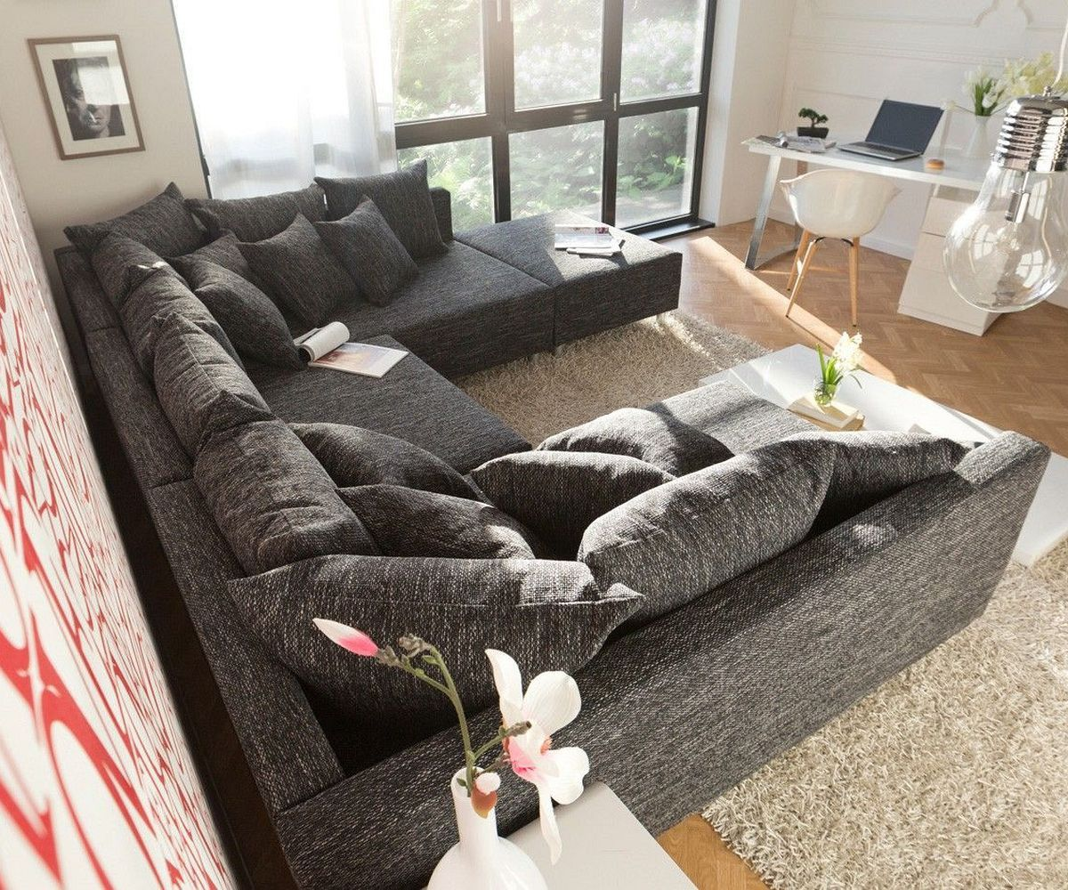 DELIFE.eu   Wohnlandschaft Clovis Schwarz Strukturstoff Mit Hocker  Modulsofa Möbel Sofas Wohnlandschaften