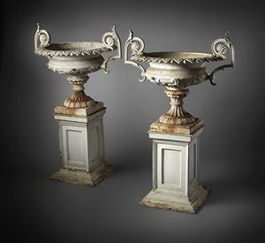 Pair of ornate cast iron urns on pedestals urns pinterest urn pair of ornate cast iron urns on pedestals workwithnaturefo