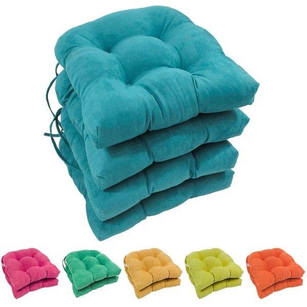 Blazing Needles Earthy U Shaped Microsuede Dining Chair Cushions Set Of Indigo Blue