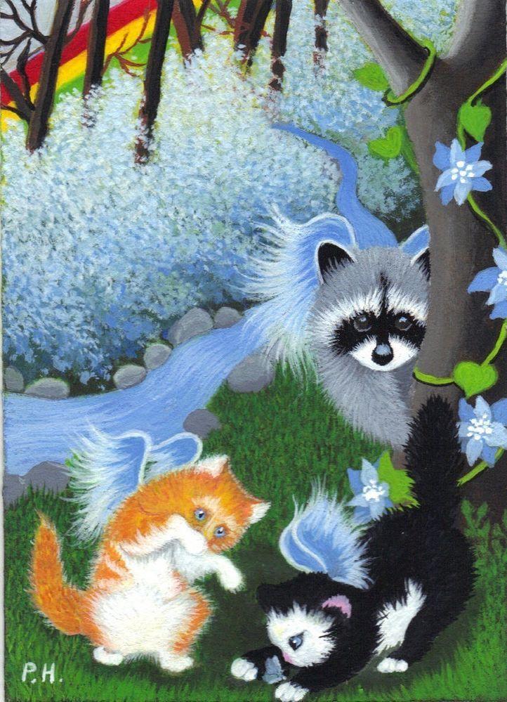 Aceo Print Raccoon Baby Angel Cat Kitten Rainbow Flowers