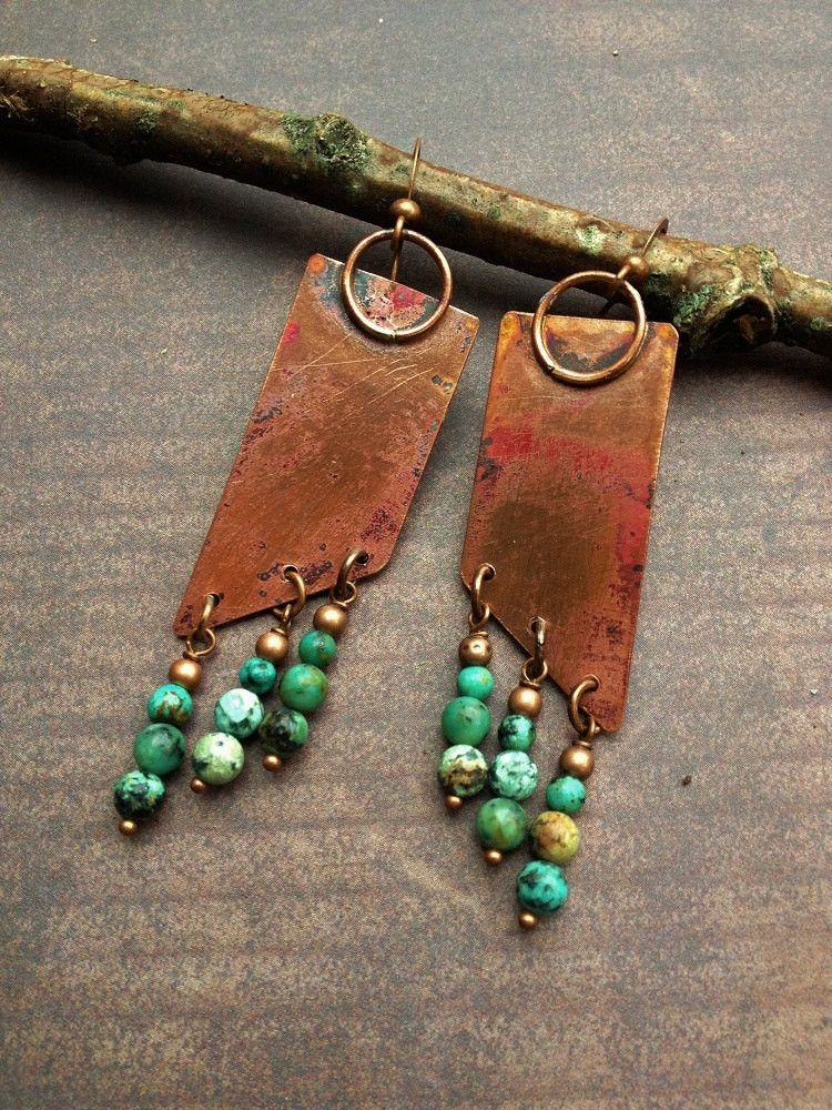 Handmade Copper Earrings With African Turquoise I Hand Crafted These