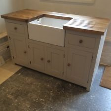 Kitchen Sink Unit Free Standing Solid Pine with Belfast Sink and ...