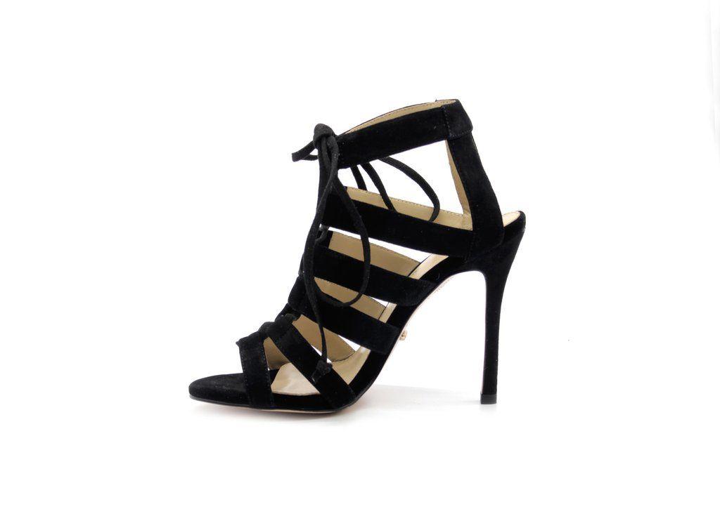 9f771eb2f21 4 Inch Heels - Black Suede Strappy Sandals - Angelina Voloshina - AV Heels  - 3