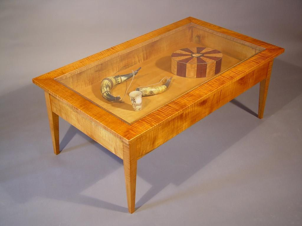 Gl Top Display Coffee Table With Drawers