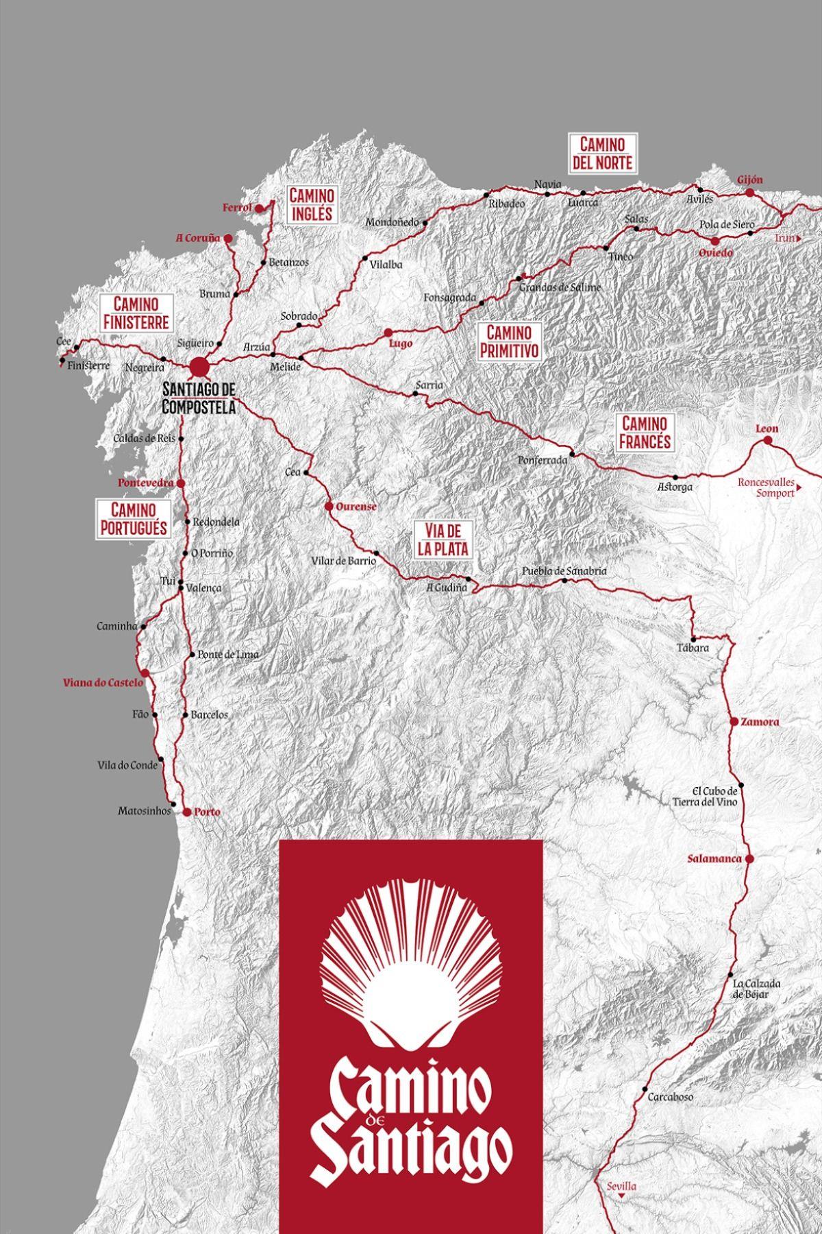 Der Camino De Santiago Als Dekoratives Poster Jakobsweg Etappen
