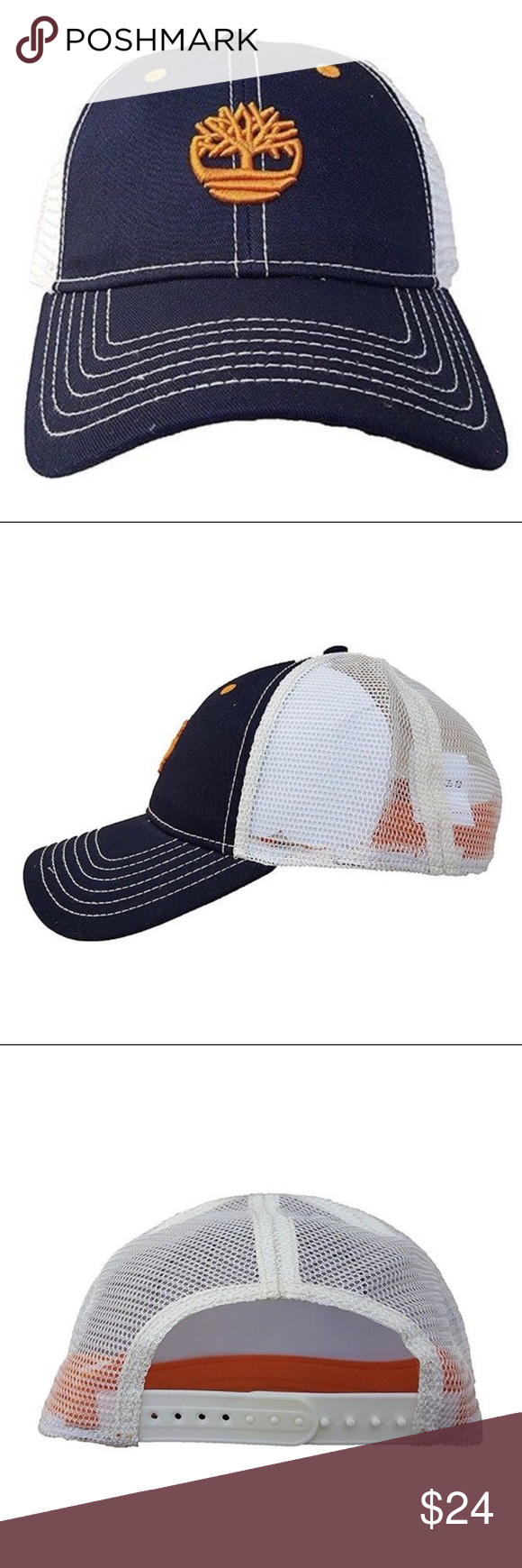 373e368a359 Timberland Men s Cotton Twill Trucker Cap NEW Timberland Men s Cotton Twill  Trucker Cap White Orange