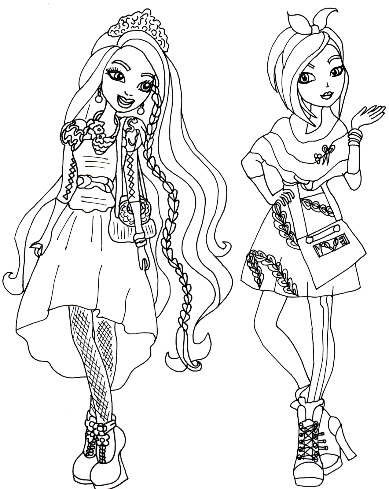 Free Printable Ever After High Coloring Pages Holly And Poppy O Coloring Home In 2020 Halloween Coloring Pictures Barbie Coloring Pages Coloring Pages For Kids