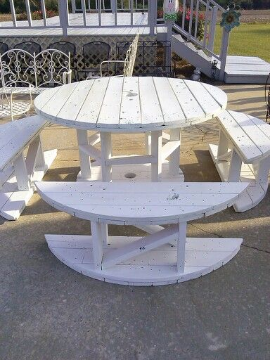 Make tables and benches out of spools repurpose for Outdoor tables made out of wooden wire spools