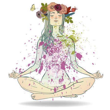 download  summer girl in lotus pose — stock illustration