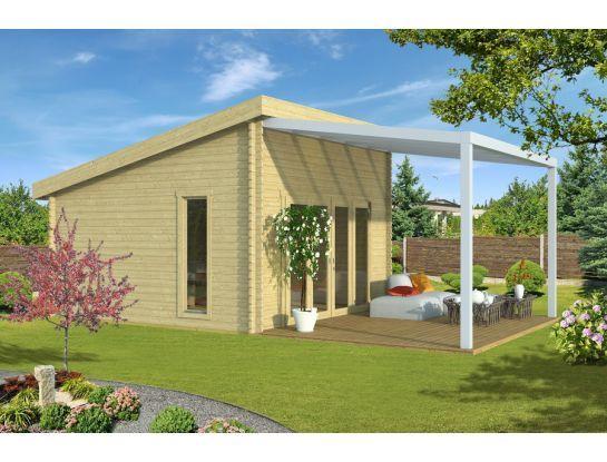 Gartenhaus + Terrasse 40mm 434x434cm + 406x350cm OPAL, 3