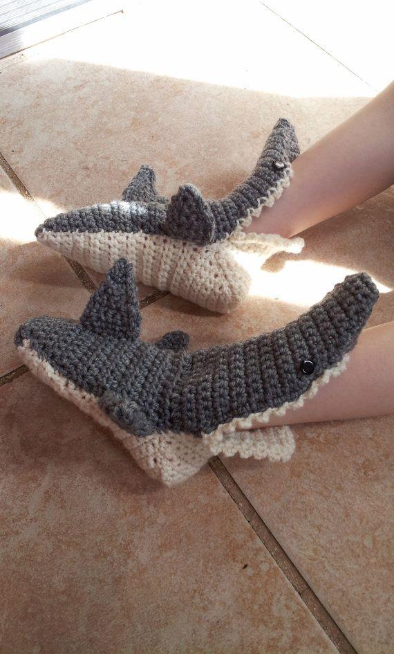 Baby shark slippers, crochet shark slippers, kids shark slippers ...