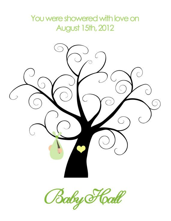 printable baby shower thumbprint tree by belladellacreations 14 00