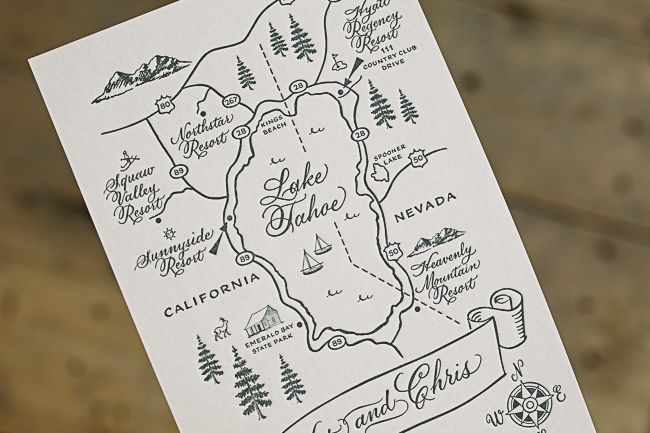 Elegant Yet Rustic Custom Wedding Invitation Maps From Smock