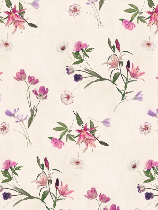 Dispersos floral en el arte Crema Imprimir