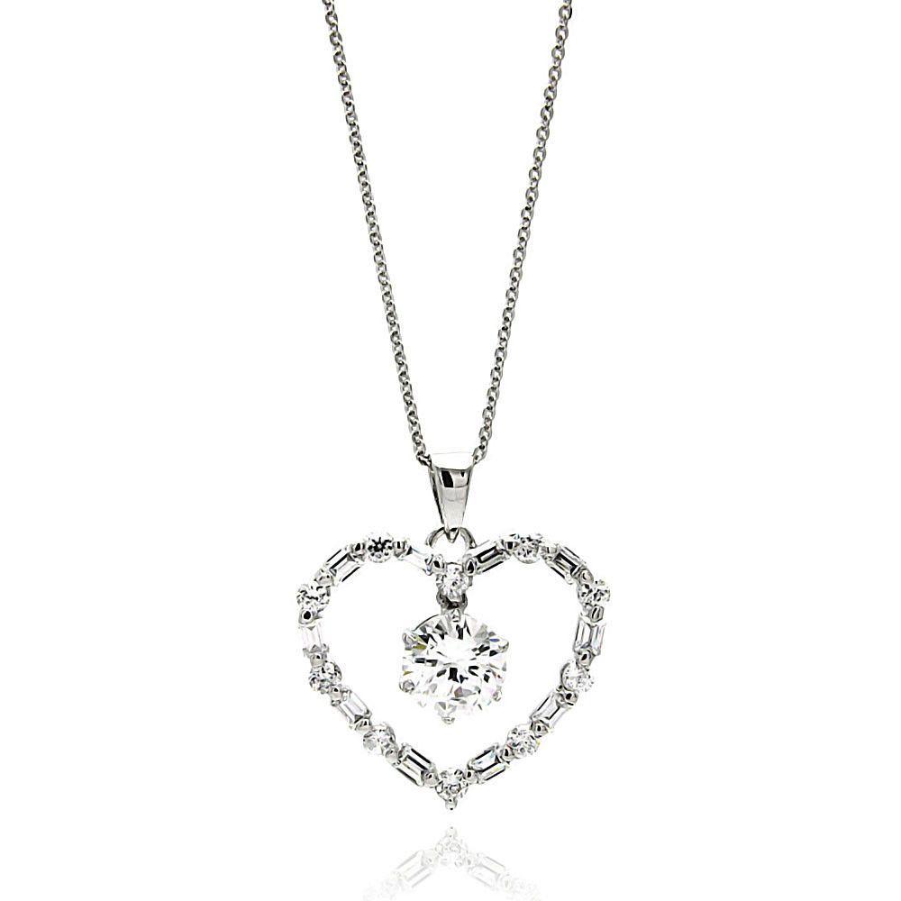 16 Length 925 Sterling Silver CZ Necklace