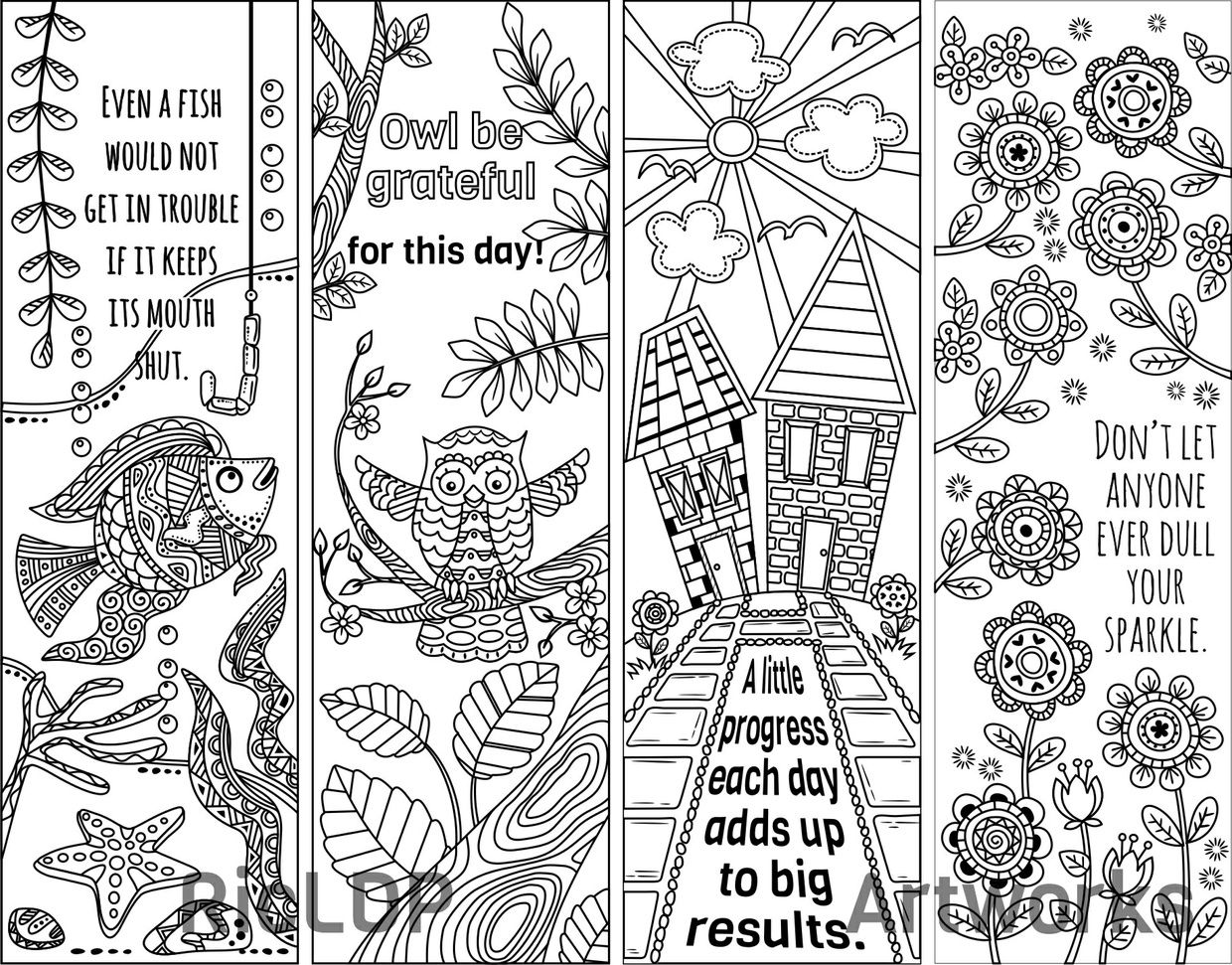 8 Coloring Bookmark Doodles with Quotes | Bookmarks, Doodles and ...
