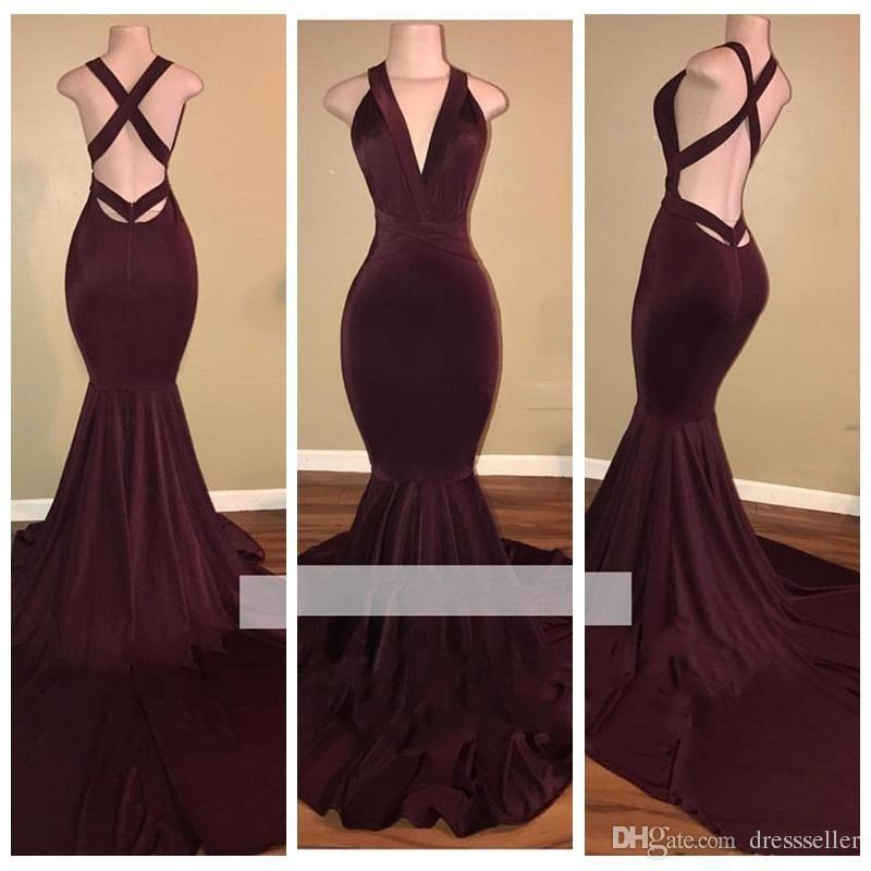 Simple Elegant 2015 Women Summer Wedding Dresses Flowing: Pįn: @Heyyoitsmayo V Neck Slim Burgundy Mermaid Prom