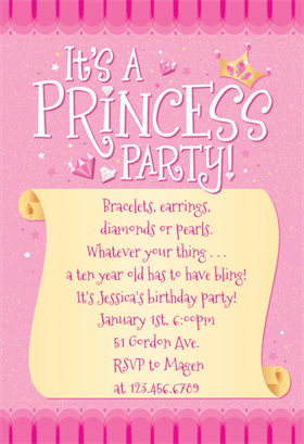 princess party printable invitation template customize add text