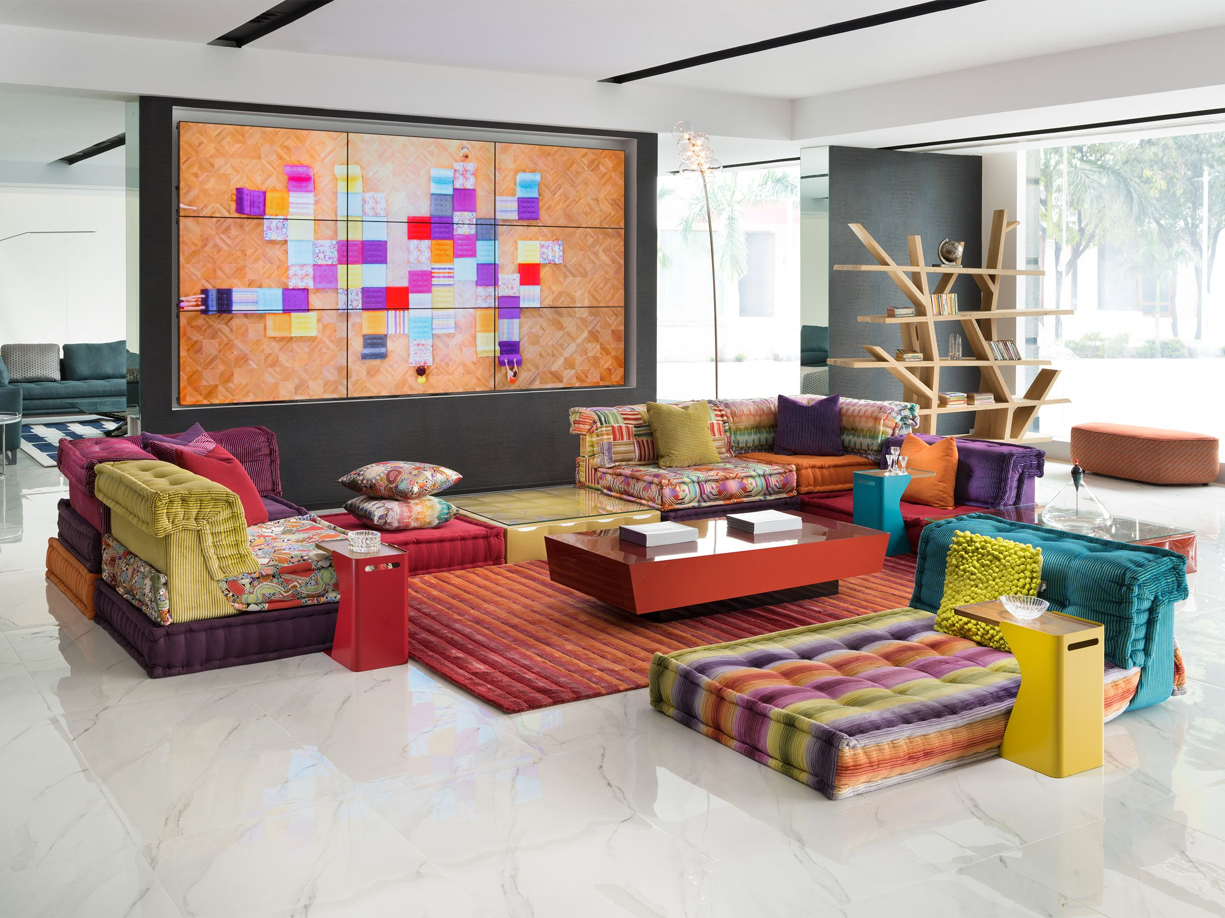 Aziatische Woonkamer Roche Bobois New Delhi India Mah Jong Sofa Showroom Display