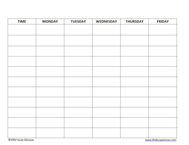 Free Homeschool Schedule Blank 5 day schedule template by Susie - school schedule template