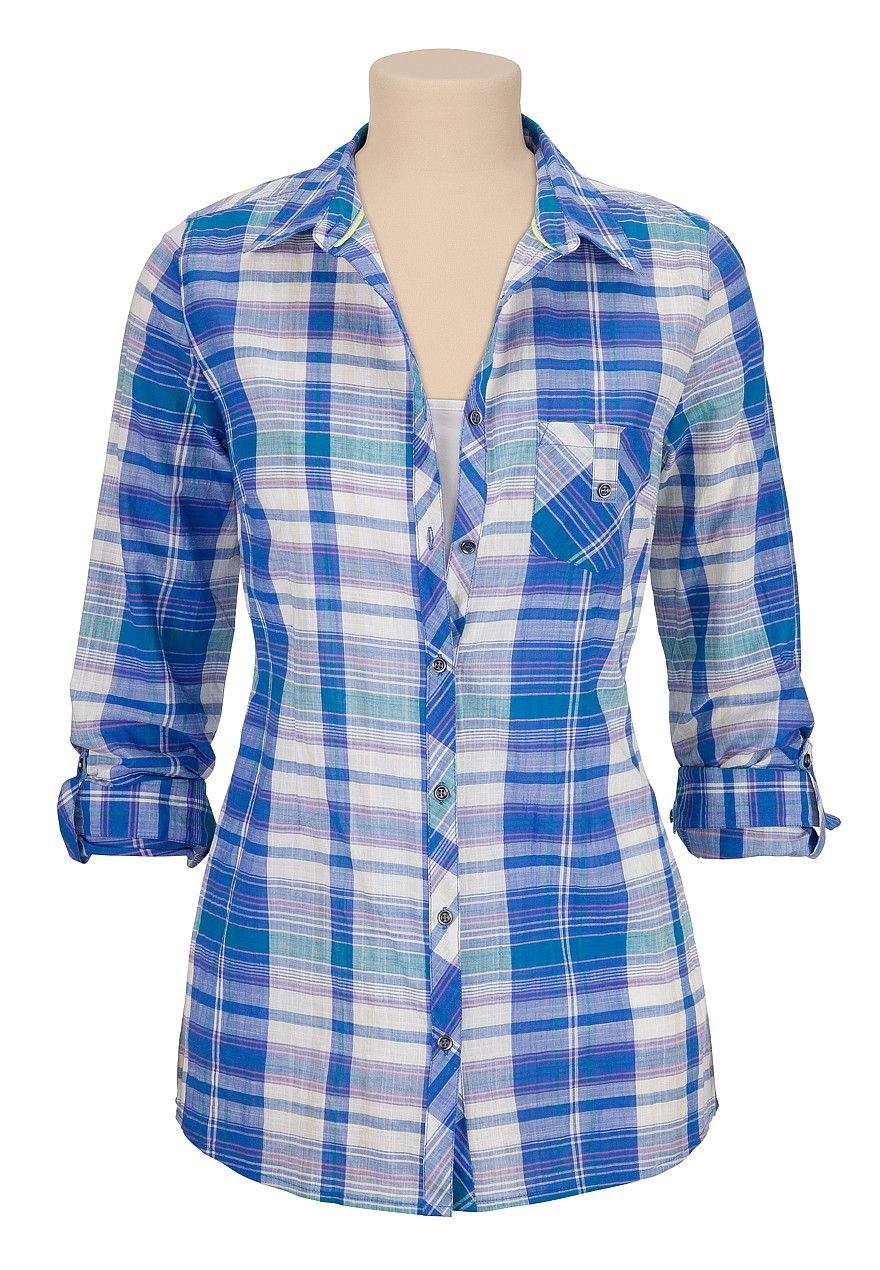 Plaid Pinterest Blusas Tunic Ropa Down Button FOwgq1