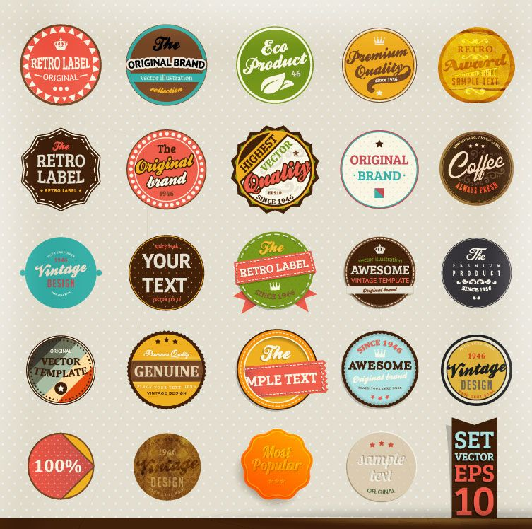 Colorful retro badges templates available in layered Photoshop PSD - abel templates psd